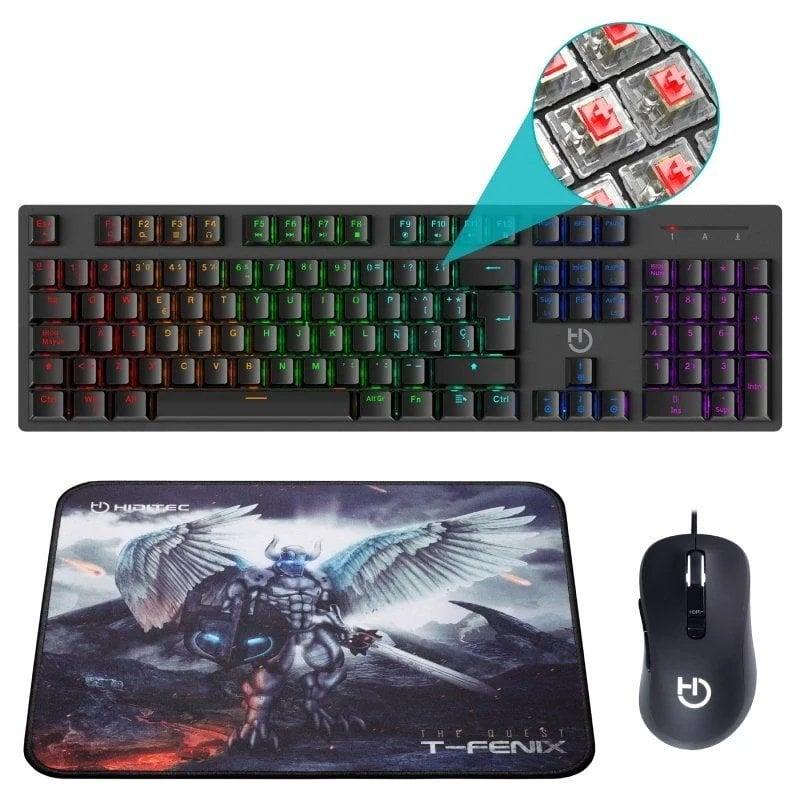 Hiditec Pack Gaming Teclado + Ratón + Alfombrilla