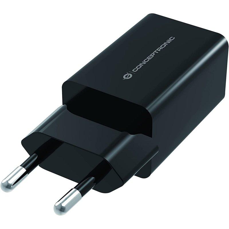 Conceptronic Althea Cargador 2x USB 5V 12W Negro