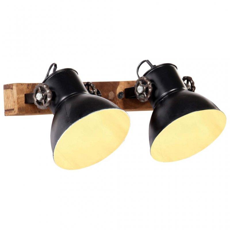 VidaXL Lámpara De Pared Industrial 2xE27 Negra