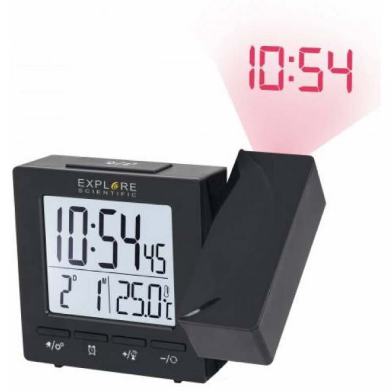 Explore Scientific RDP1001 Reloj Despertador Con Proyección Negro