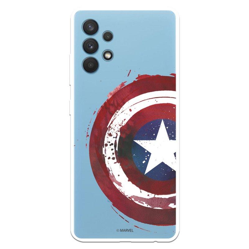 Funda Oficial Marvel Capitán América Escudo Transparente para Samsung Galaxy A32