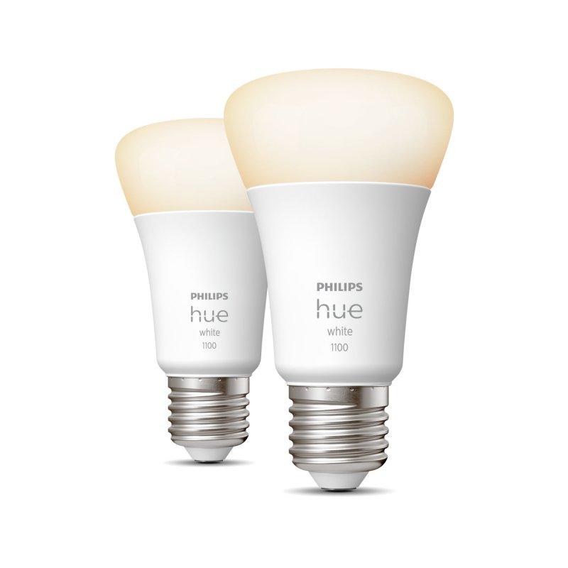 Philips Hue White Pack 2 Bombillas LED Inteligentes A60 E27 9.5W Luz Blanca Cálida