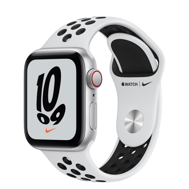 Apple Watch SE Nike 2021 GPS + Cellular 40mm Aluminio Plata Con Correa Deportiva Platino