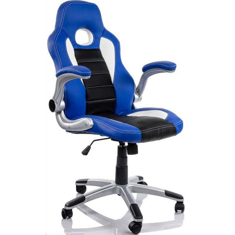 Silla racing sports azul negra for Sillas de oficina precios
